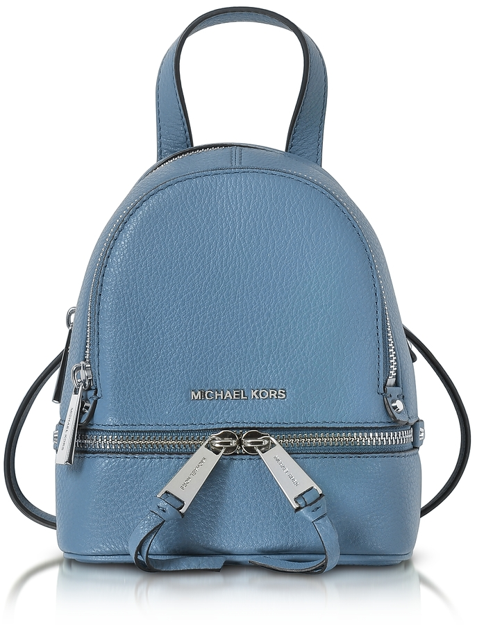 MICHAEL Michael KorsMichael Kors Rhea Zip X-Small Denim Leather Messenger Backpack