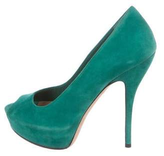 Gucci Suede Peep-Toe Pumps