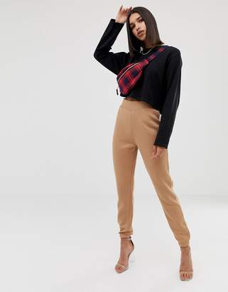Missguided high waisted jogger in camel