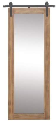 DecMode Decmode Farmhouse 70 X 32 Inch Rectangular Wooden Framed Wall Mirror With Metal Wall Brackets, Brown