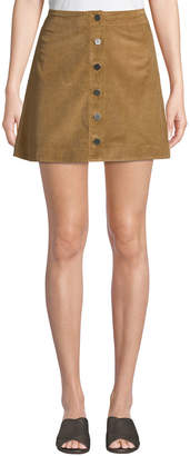 Elizabeth and James Prewitt Button-Front Corduroy Mini Skirt