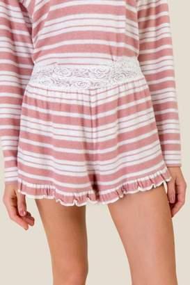 francesca's Lalia Cozy Striped Lace Waist PJ Short - Light Rose