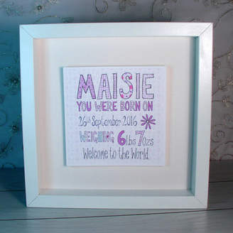 Claire Sowden Design Personalised New Baby Girl Picture