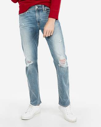 Express Slim Straight Destroyed Hyper Stretch Jeans