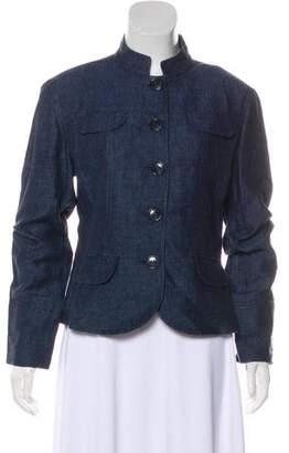 Lafayette 148 Chambray Mandarin Collar Jacket