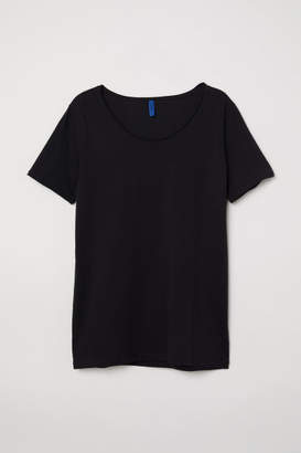 H&M T-shirt with Low-cut Neckline - Black