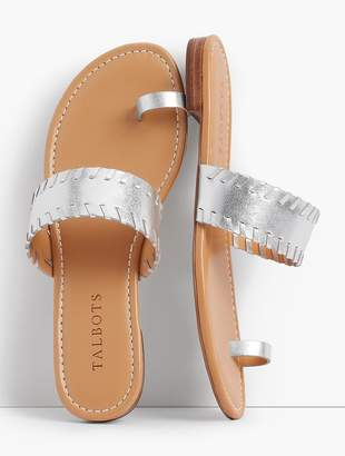 Talbots Gia Toe-Ring Sandals-Metallic Leather