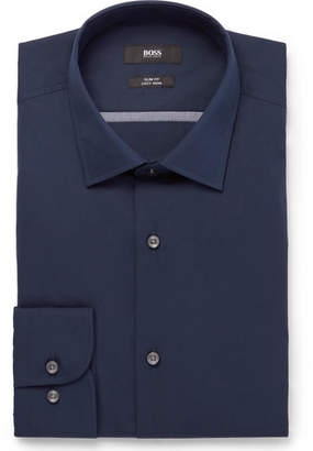 HUGO BOSS Navy Jerris Slim-Fit Cotton-Poplin Shirt