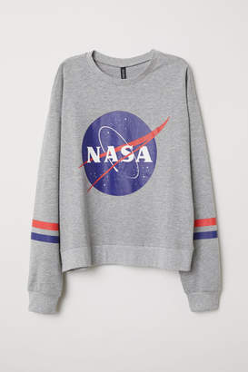 H&M Sweatshirt with Printed Design - Gray