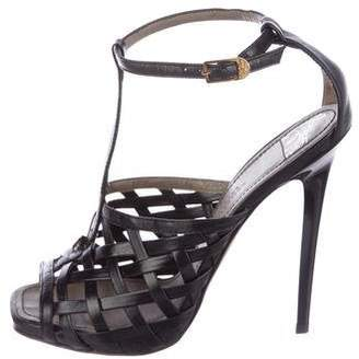 Versace Leather Woven Sandals