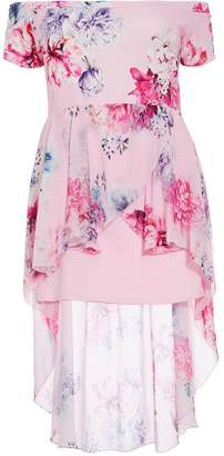 Quiz Curve Pink And Blue Floral Chiffon Dip Hem Dress