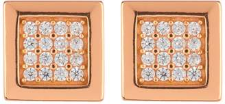 Argentovivo 18K Rose Gold Plated Sterling Silver Pave Square Stud Earrings