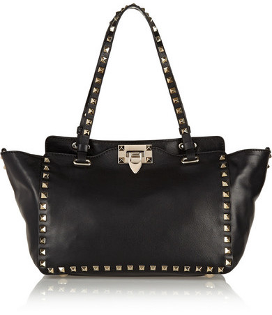 Valentino - The Rockstud Small Leather Trapeze Bag - Black