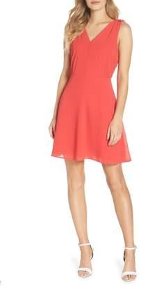 Vince Camuto Souffl? V-Neck Chiffon A-Line Dress (Regular & Petite)