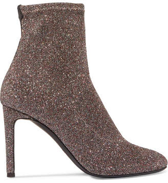 Glittered Stretch-knit Ankle Boots - Silver