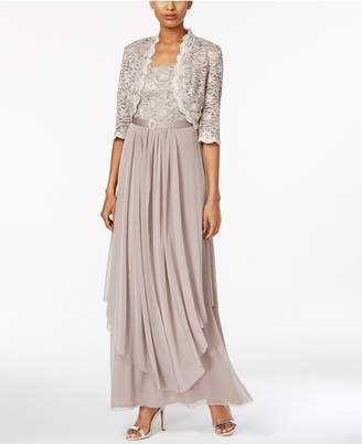 R & M Richards Sequined Lace Belted Gown and Jacket