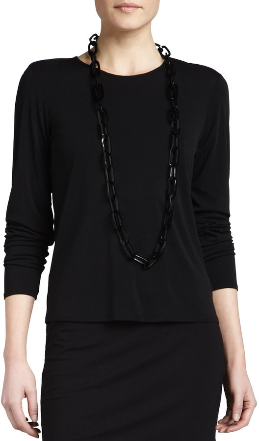 Eileen Fisher Silk Jersey Long-Sleeve Tee