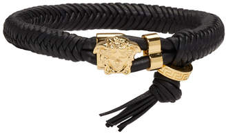 Versace Black and Gold Leather Braid Bracelet