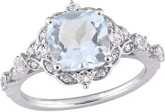 14K 2.55 cttw Aquamarine & White Sapphire Vintage-Style Ring