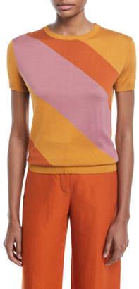 Loro Piana Myrtos Short-Sleeve Colorblock Sweater