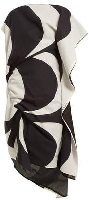 Junya Watanabe Kaivo Print Asymmetric Draped Cotton Blend Dress - Womens - White Black