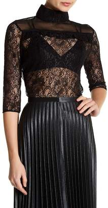 Lucca Couture Portia Lace Mock Neck Top