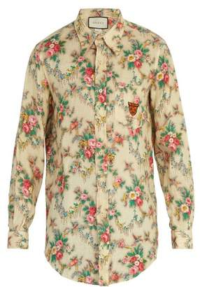 Gucci Tiger Embroidered Floral Print Linen Shirt - Mens - Cream 60da153543f8