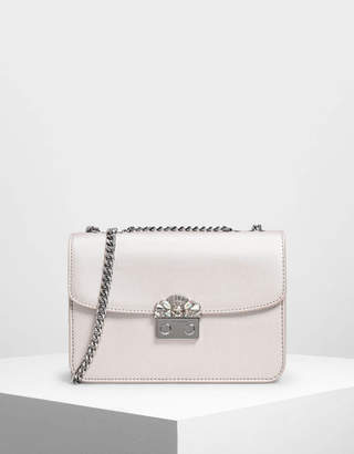 Charles & Keith Embellished Push Lock Clutch