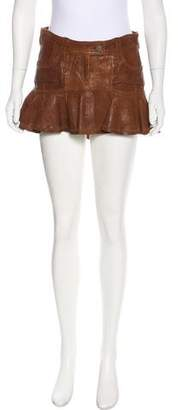 Galliano Leather Mini Skirt