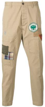 DSQUARED2 badge patch trousers