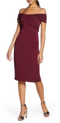 Taylor Dresses Twist Detail Crepe Sheath Dress