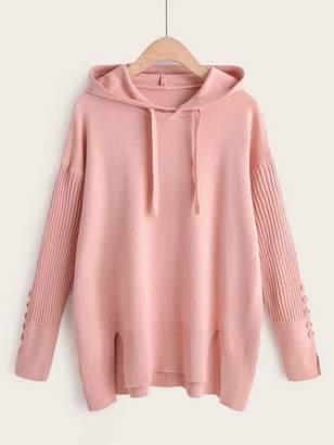 Shein Split Hem High Low Drawstring Hooded Sweater