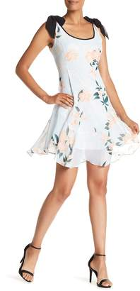 Donna Morgan Tie Sleeve Floral Printed Chiffon Dress