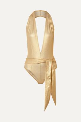Lisa Marie Fernandez Riri Belted Metallic Stretch-crepe Halterneck Swimsuit