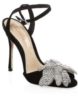 Schutz Ayanne Jeweled Suede Stilettos