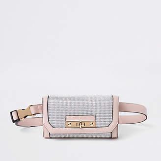 River Island Light pink buckle belt bum bag