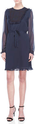 Scotch & Soda Navy Embroidered Ruffled Long Sleeve Dress
