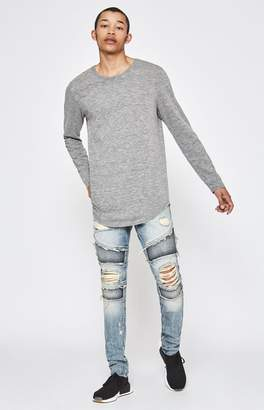 Moto PacSun Stacked Skinny Vertical Stretch Fray Medium Jeans