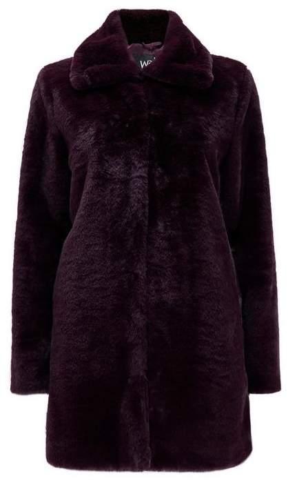 Purple Plush Faux Fur Coat