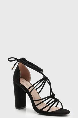 boohoo Block Heel Multi Strap Wrap Sandals