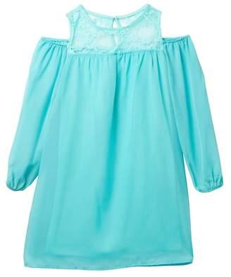 Love, Nickie Lew Cold Shoulder Lace Top Chiffon Dress (Big Girls)