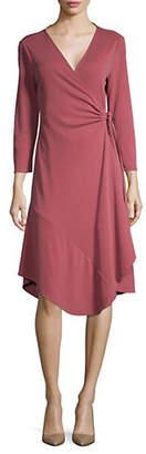 Halston H Three-Quarter Sleeve Wrap Knee-Length Dress