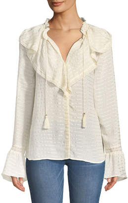 Paige Silvette Ruffled-Neck Bell-Sleeve Striped Blouse