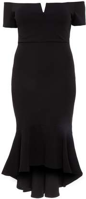 Quiz Curve Black Bardot V Bar Dip Hem Dress