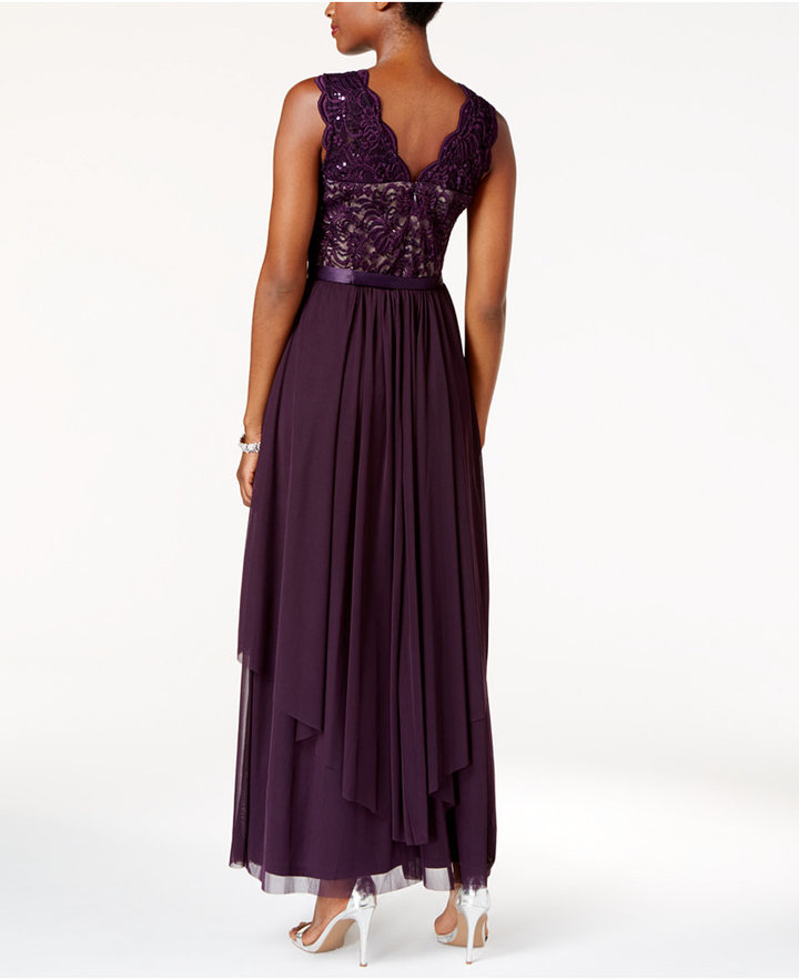 R & M Richards Sequined Lace Chiffon Gown 6
