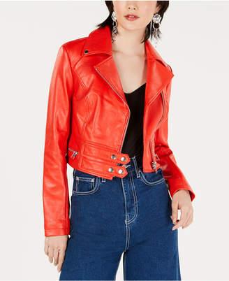 Bar III Cropped-Faux-Leather Moto Jacket