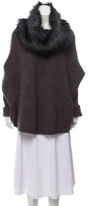 Michael Kors Fur-Trimmed Knitted Poncho