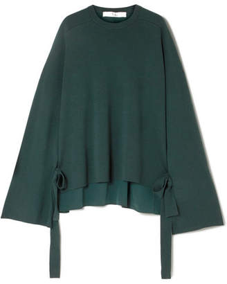 Tibi Silk Crepe-paneled Merino Wool Sweater - Dark green