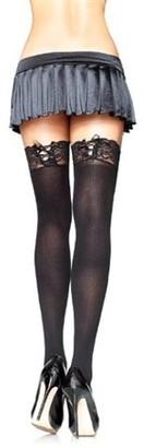 Leg Avenue Women's Opaque Lace Top Stockings, Black, One Size