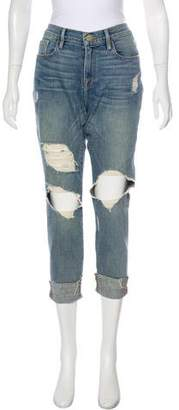 Frame Les Garcon Distressed Mid-Rise Straight-Leg Jeans